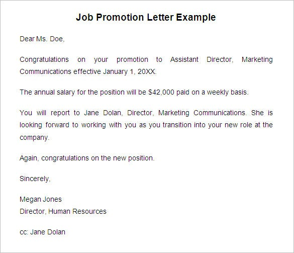 Job Promotion Letter Example. Free Download  Promotion Announcement Samples