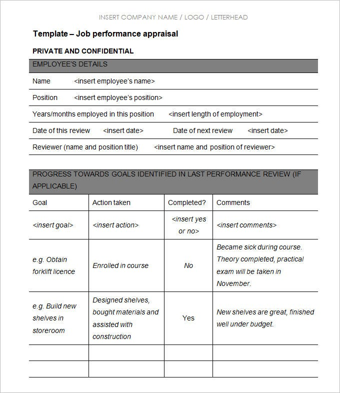 Sample Of Appraisal Form For Employee