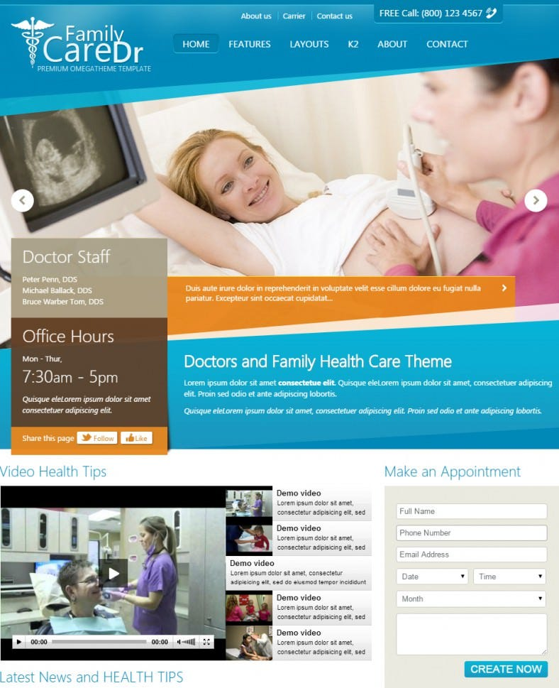 joomla template for doctors dentists 788x969