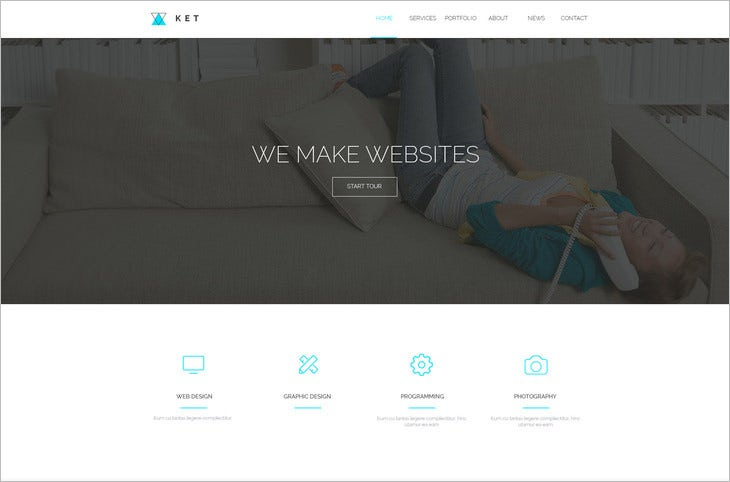 ket single page psd web template