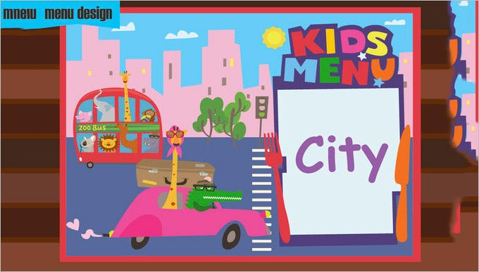 kids menu city cartoons download