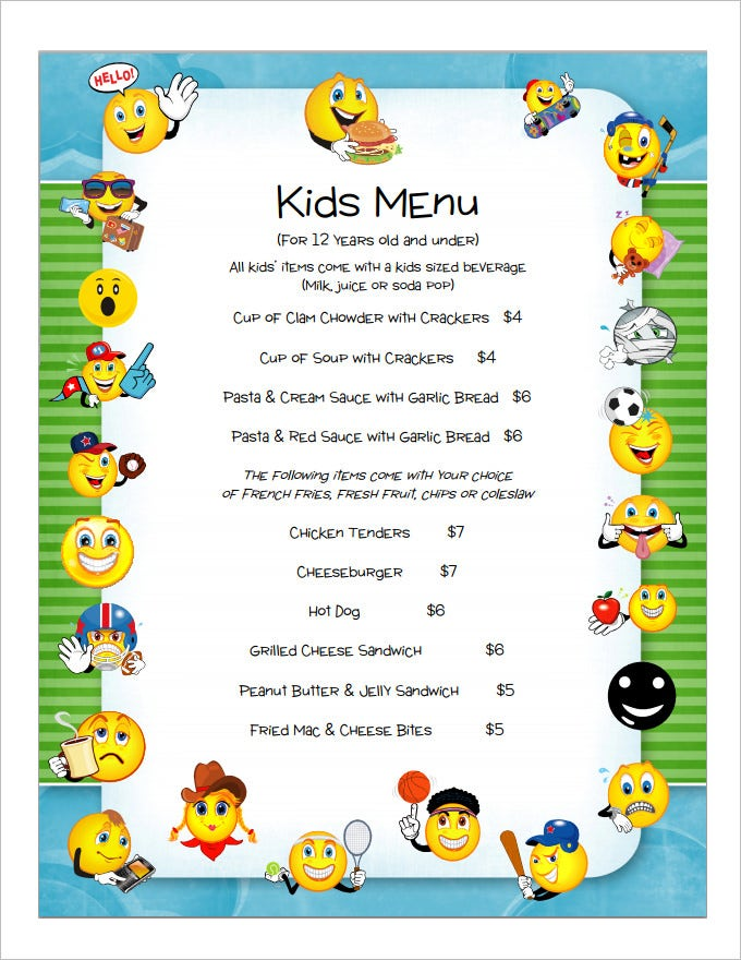 Good Kids Menu Template Download Ideas Free Kids Menu Templates