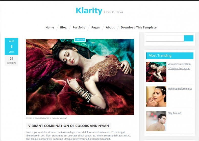 Fashion Blog Theme with Social Buttons