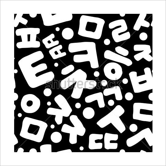 korean alphabet letters simple pattern