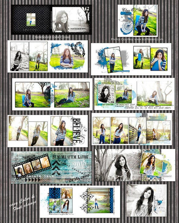 kylie senior girl psd digital album templates