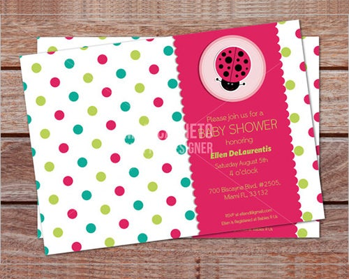 lady bug baby shower formal invitation template