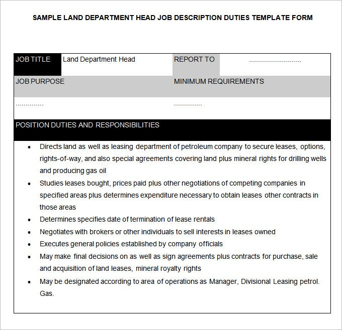 land department head job description template