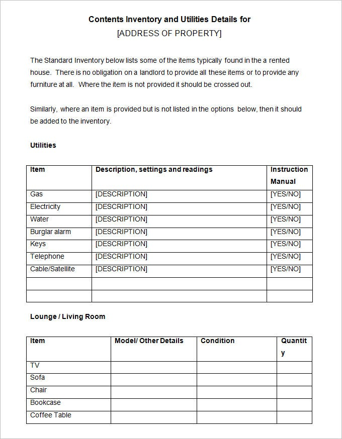 Land Lord Inventory Template Free Download  Inventory List For Landlords