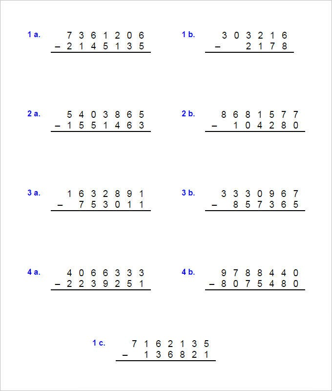 Horizontal Subtraction Facts Worksheet Horizontal Subtraction – Free Subtraction Worksheet
