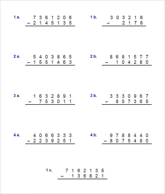 17 Sample Addition & Subtraction Worksheets | Free PDF ...