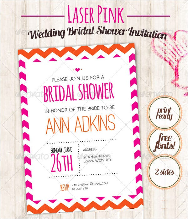 laser pink weddingl shower invitation template