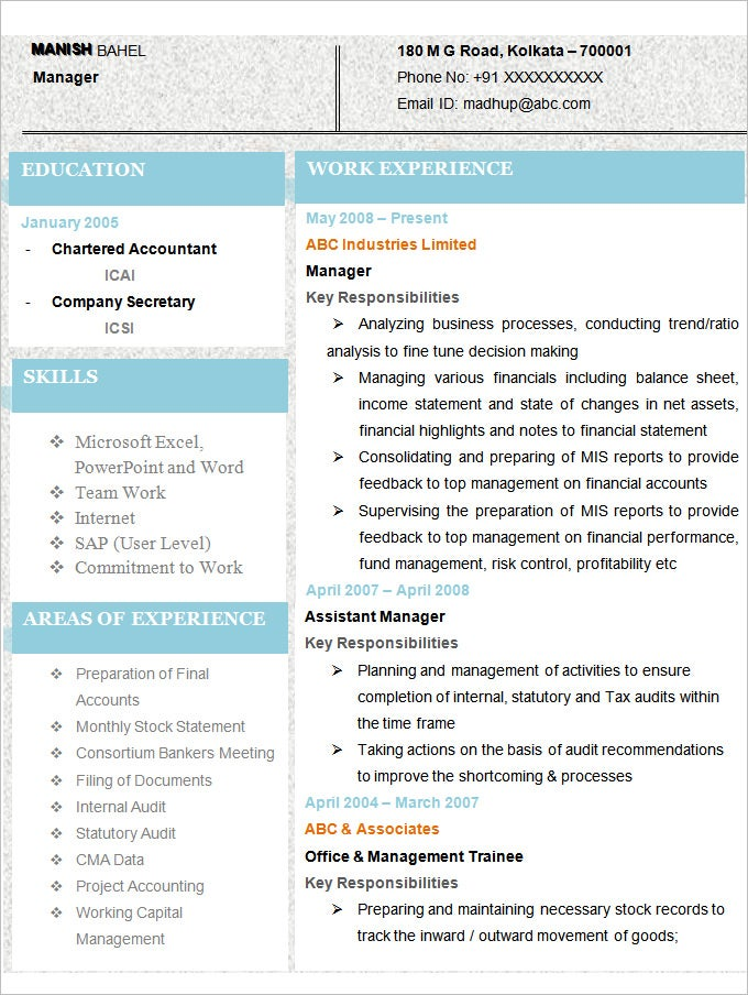 sample latest chartered accountant resume template - Sample Resume For Accountant