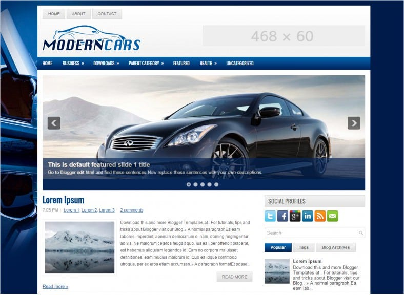latest free blue car blogger template 788x576
