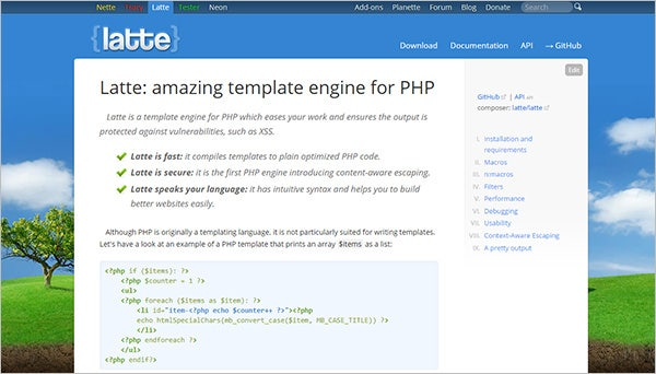 latter amazing php template engine