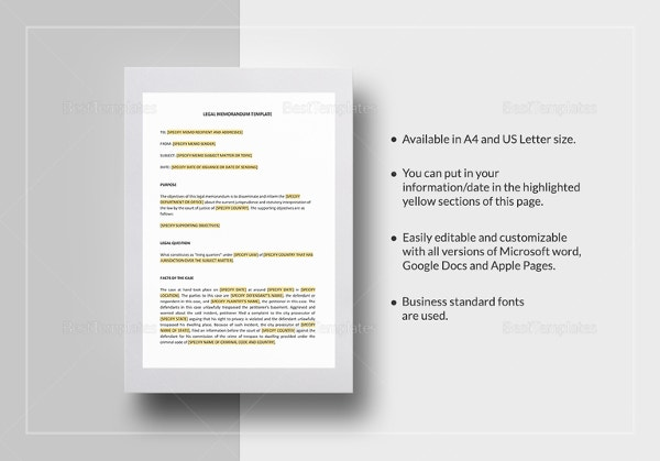 Legal Memo Templates Free Word ExcelPDF Documents Download - Free legal docs