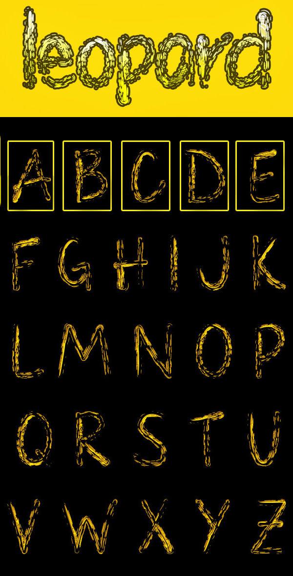 leopard large alphabet letters template