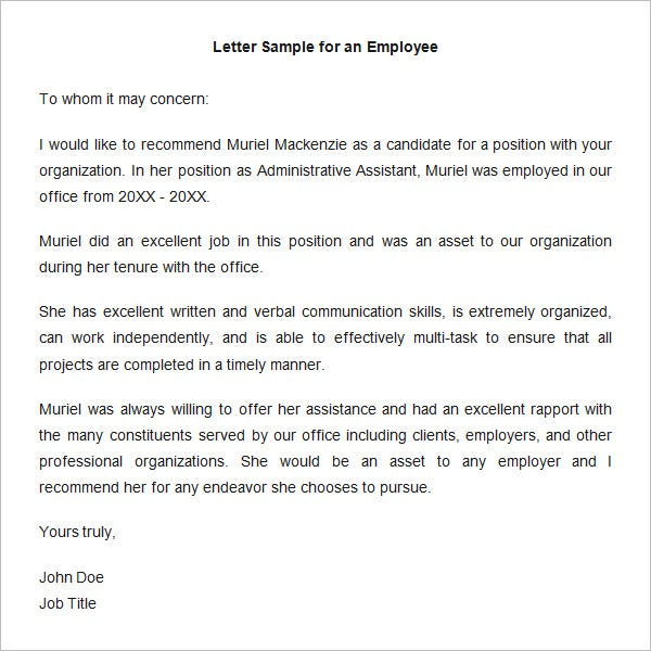 letter sample for an employee recommendation template