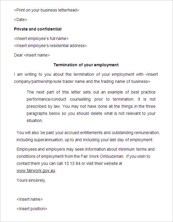 ending employment letter termination letter for employee template – Termination of Employment Template