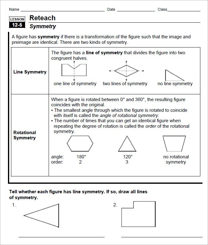 line of ratational symmetry sheet template