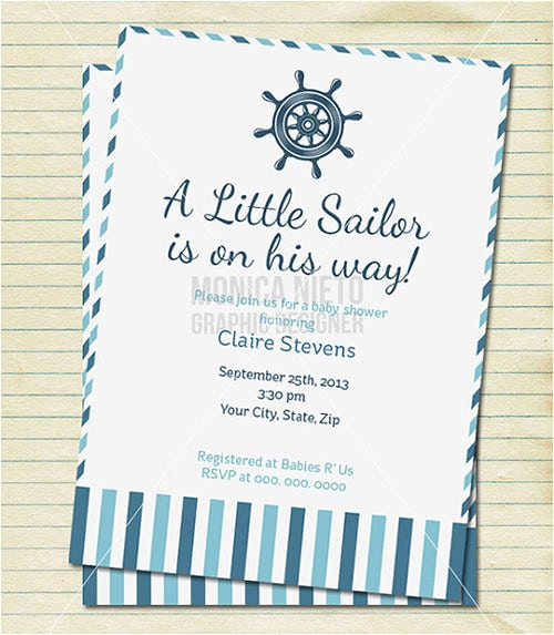 little sailor baby shower formal invitation template