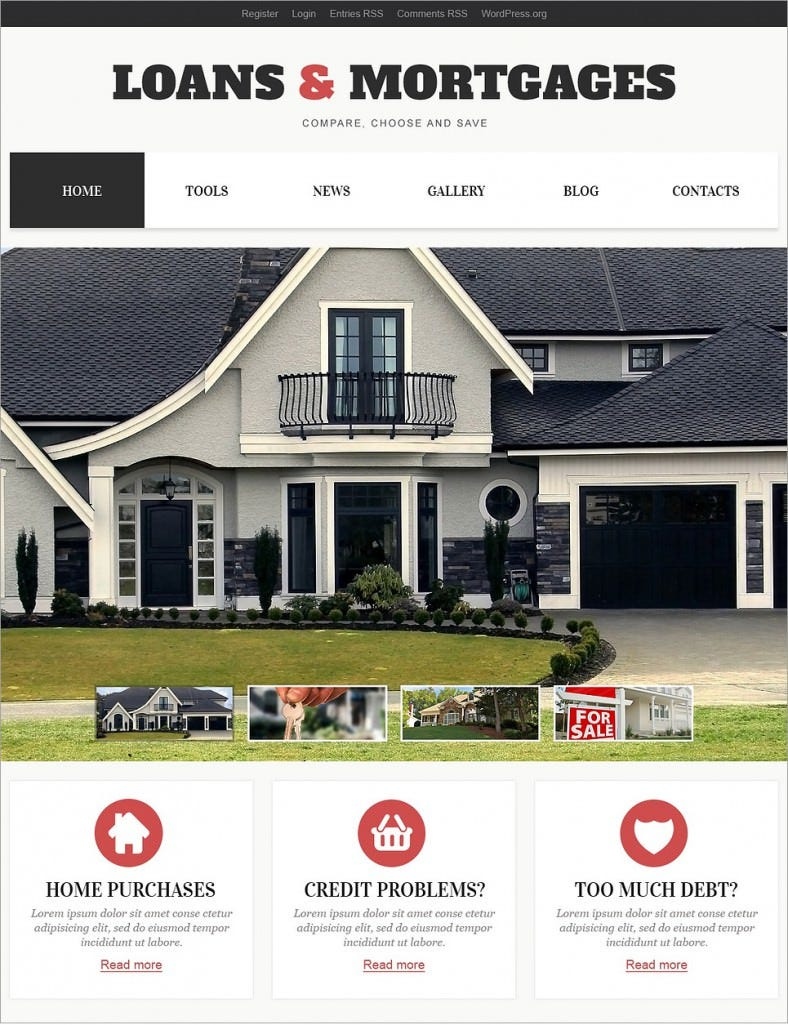 Loan Mortgage Responsive WordPress Theme U2013 $75  Mortgage Templates