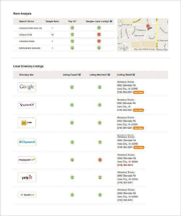 local seo report template