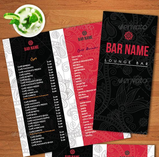 lounge bar menu psd templates