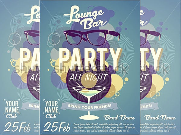 lounge bar party invitation template
