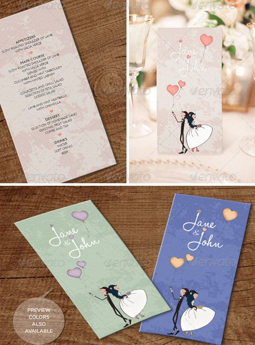 lovely air wedding menu template