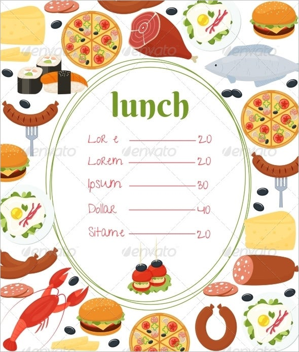 Lunch Menu Template 32 Free Word PDF PSD EPS InDesign – Free Food Menu Template