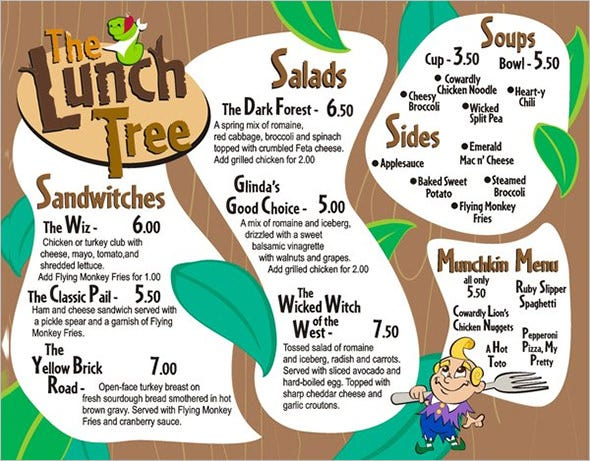 lunch menu tree template download
