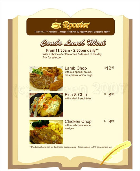 lunch menu design download