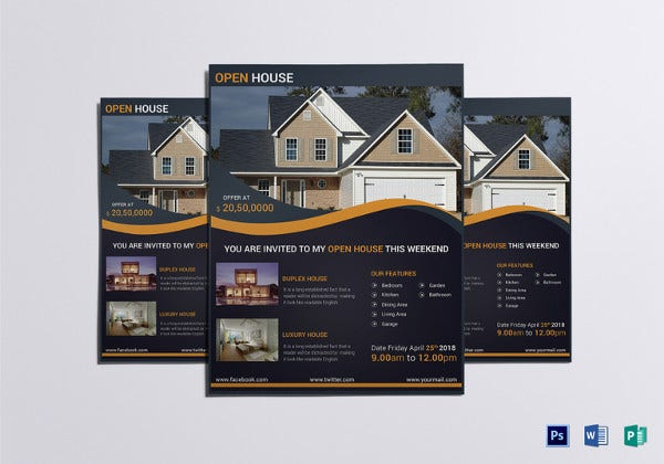 luxury open house flyer template