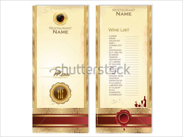 Luxury Template For A Wine Menu  Free Wine List Template