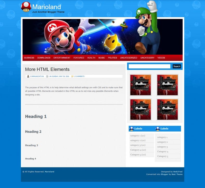 marioland cartoon blogger responsive template 788x723