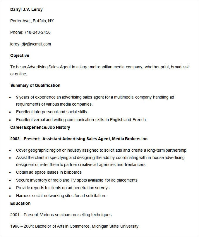 media advertising sales agent resume template