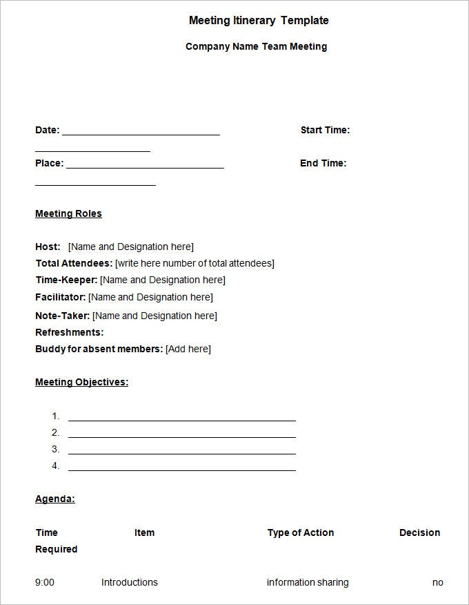Meeting Itinerary Template - 4 Free Word Documents Download | Free