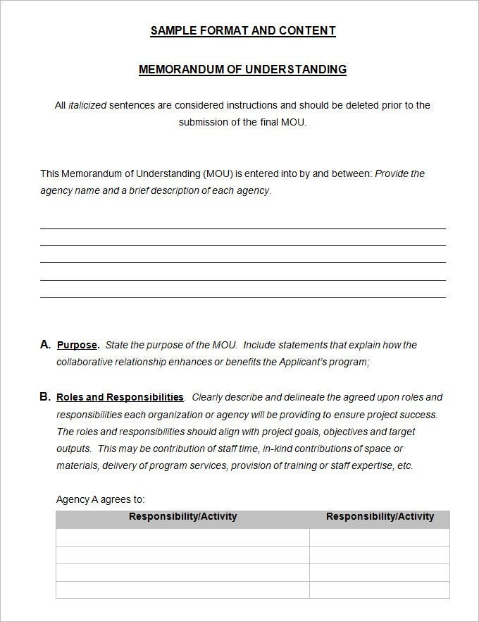 Memorandum of understanding template 4 free word pdf for Template for a memorandum of understanding
