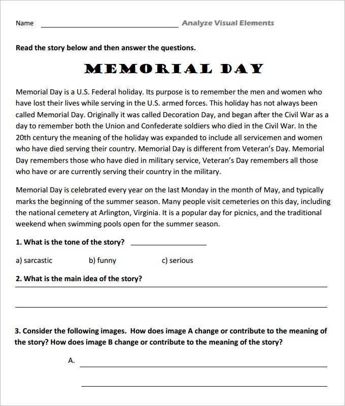 memorial day language art worksheet template