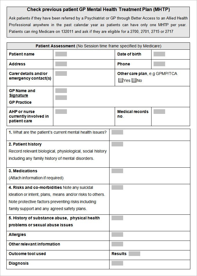 Mental Health Care Plan Templates   Free Word Pdf Documents