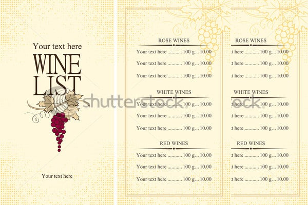 Wine Menu Template  PoratoMytreatCo