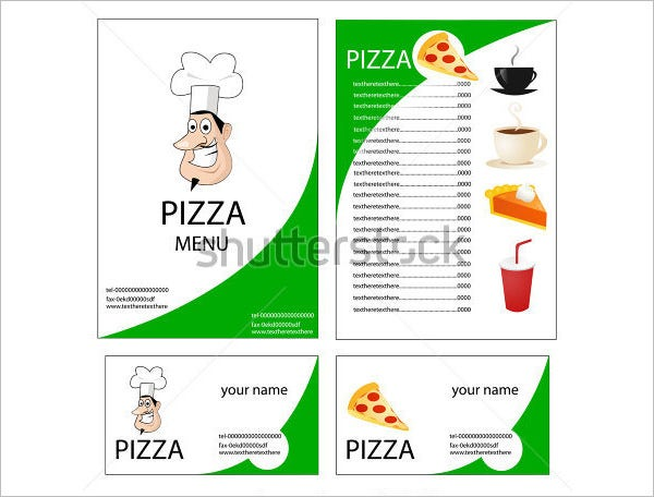 menu for pizza template