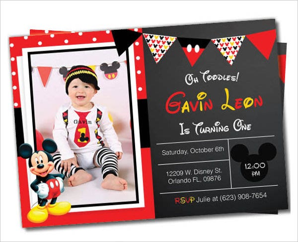 mickey mouse birthday party photo invitation