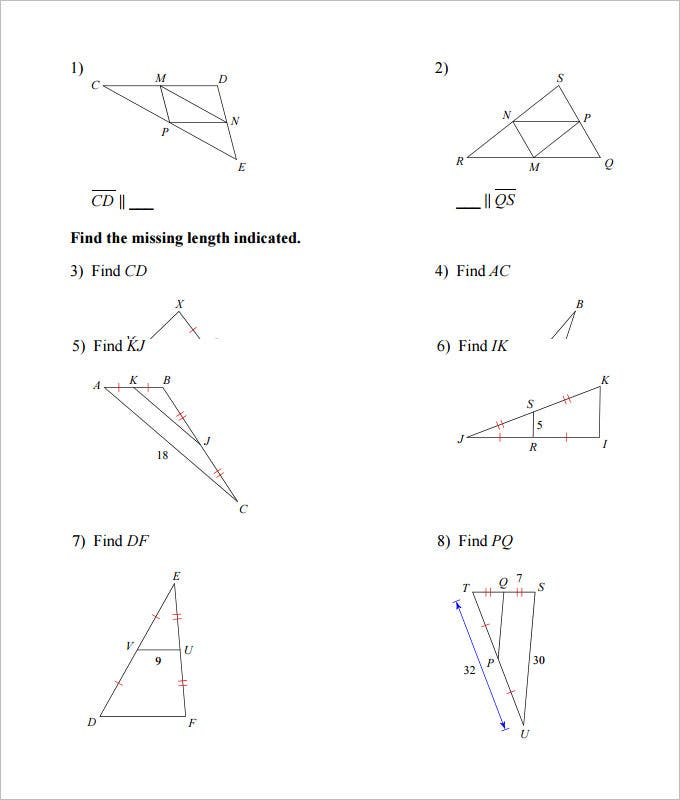 midsegment of a triangle high school worksheet template