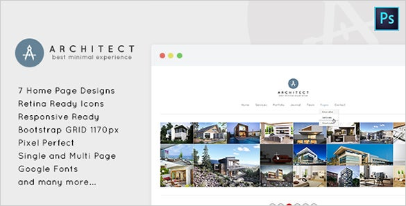 minimal psd template for architects