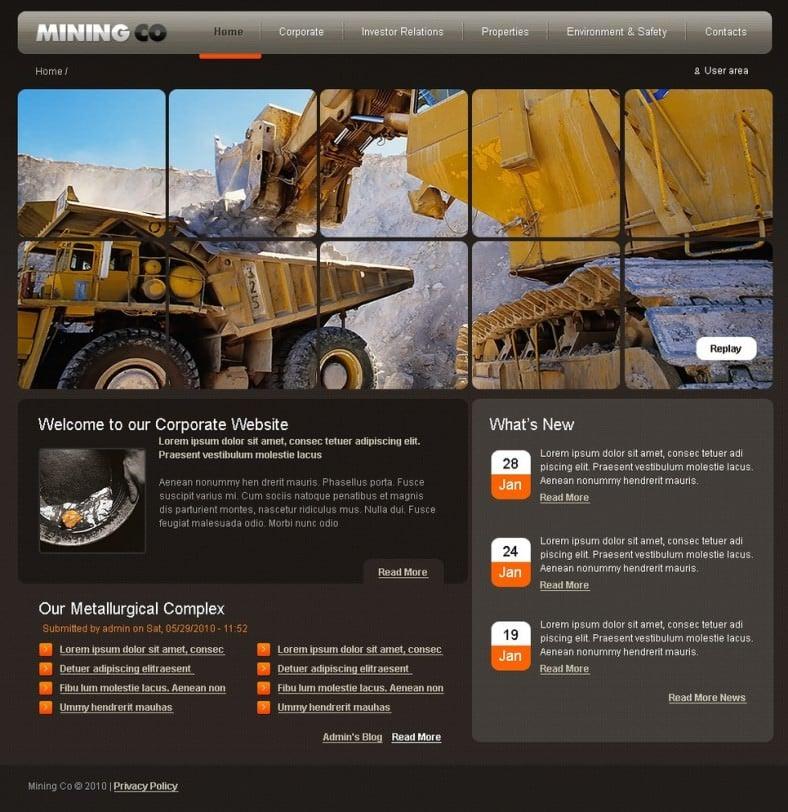 mining company drupal template 788x812