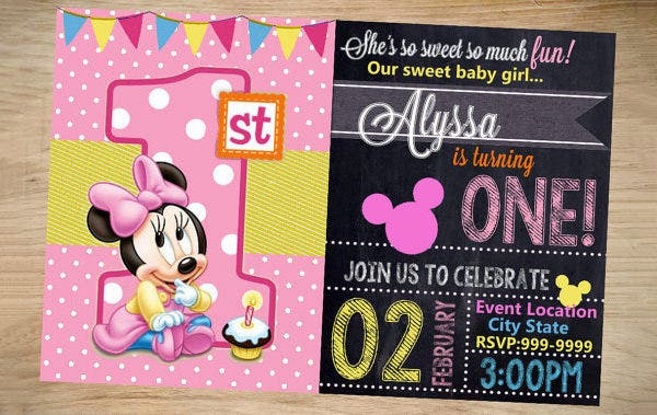 minnie mouse birthday invitation chalkboard