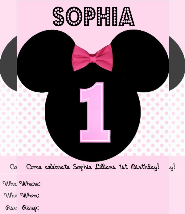 Minnie Mouse Birthday Invite For A Little Girl
