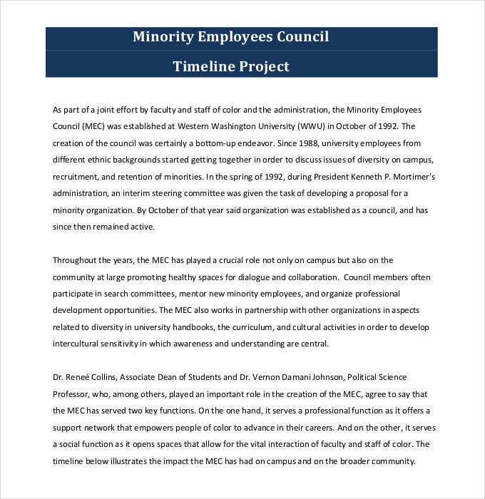 minority employees council timeline project