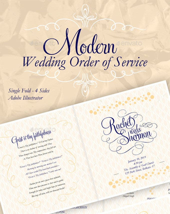modern elegant wedding order of service